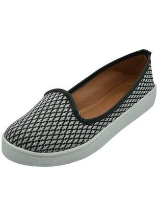 Slip on distinta tramado preto e branco