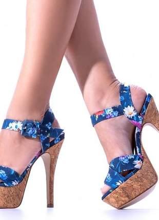 Sandália feminina floral azul meia pata