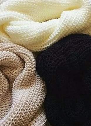 Cachecol maxi gola feminina lenço de tricot pashimina