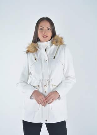4af7c6010 Casaco sobretudo feminino de lã batida com capuz forrado e bolsos