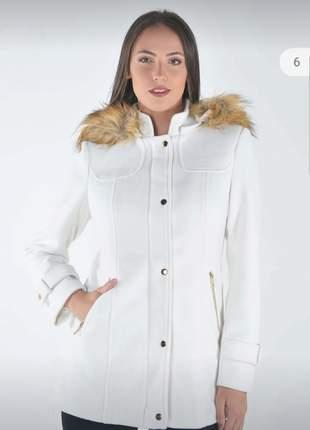 Casaco lã batida sobretudo forrado com golas em pelos feminino