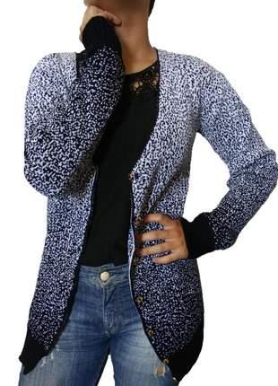 Cardigan feminino com botão tricô modal casaco manga longa