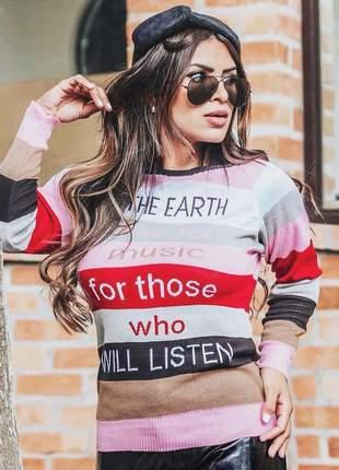 Blusa de frio feminina suéter tricot manga longa listrada
