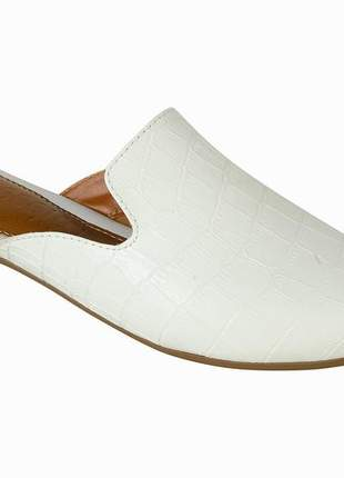 Mule mercedita shoes bico fino croco branco