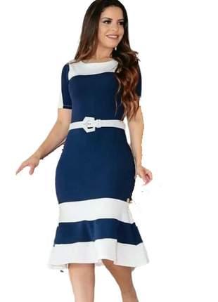 35af3ceff Vestido midi longuete bicolor moda evangelica executiva + cinto brinde