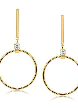 Brinco pendulo circulo folheado a ouro 18 k