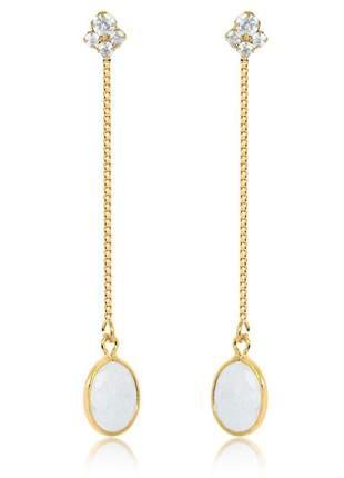 Brinco pendulo quartzo leitoso folheado a ouro 18 k