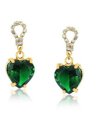Brinco de coração verde folheado em ouro 18 k