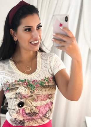 Blusa em tecido em devore com detalhes em pérolas feminina camisa blusa