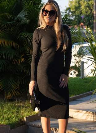Vestido midi longo manga longa feminino com cola alta