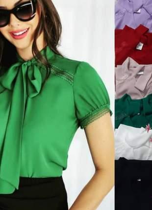 Blusa camisa estilo gravatinha com detalhes feminino