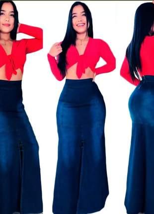 Saia longa jeans com lycra feminina com abertura lateral