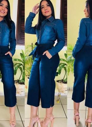 Conjunto calça pantacurt e blusa jeans feminina