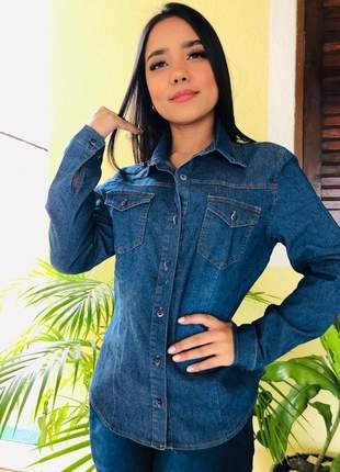 Camisa blusa jeans com bolso frente feminina