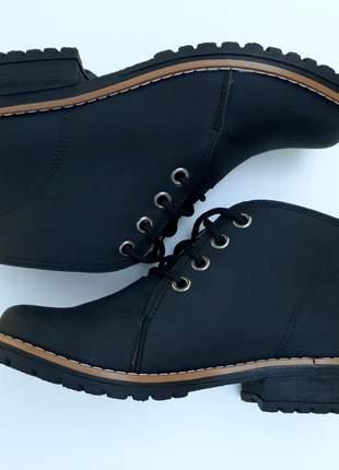 Bota coturno feminina botinha preta fosca salto baixo