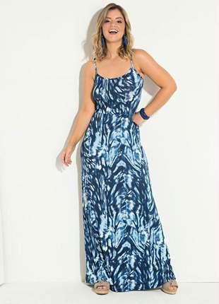 Vestido longo alcinha animal print azul