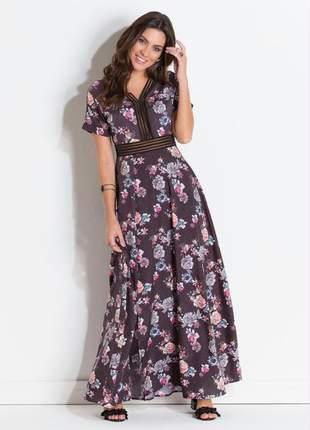 Vestido festa cetim floral dark