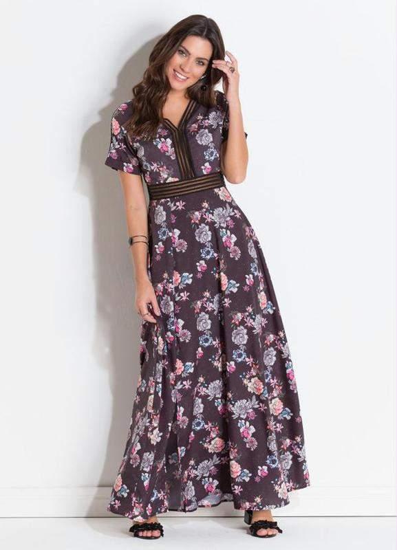Vestido Festa Cetim Floral Dark R 17999 Shafa O Melhor Da Moda Feminina