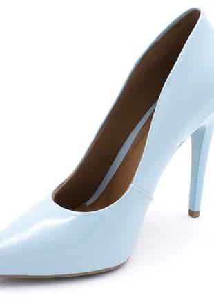Sapato social feminino scarpins azul claro salto alto fino