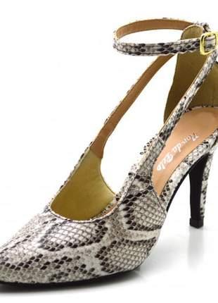 Sapato scarpin aberto salto alto fino em napa olímpia cobra branca