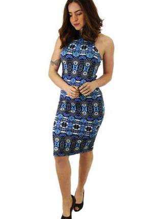 Vestido tubinho midi estampa azul ref: v00189