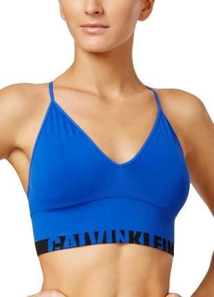 Top feminino de treino fitness calvin klein original azul m