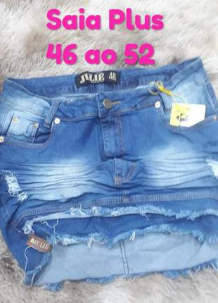 Saia jeans cintura alta plus size promoção verão