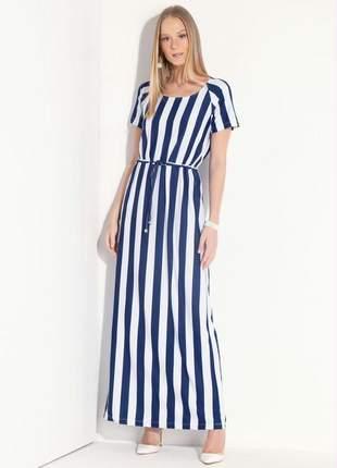 Vestido listras azul e branco