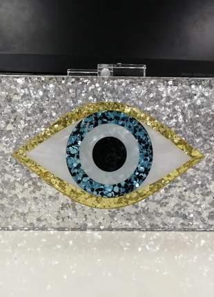 Bolsa de festa olho grego prata