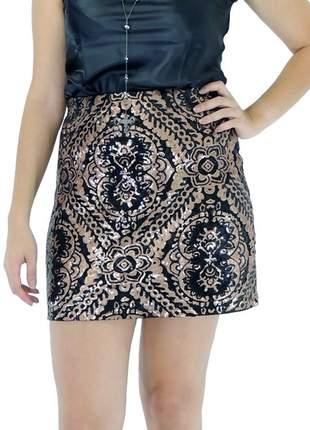 Saia infinity fashion curto paête preto e bronze