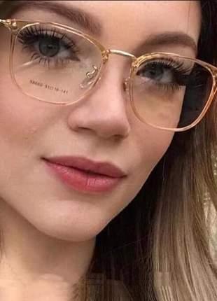 Armação feminino p/grau óculos lighy fly dourado