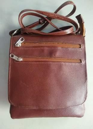 Bolsa em couro legítimo transversal com aba grande/lisa direto do fabricante