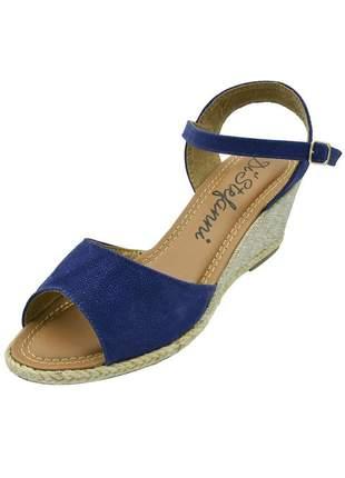 Sandália anabela aberta di stefanni azul nobuck