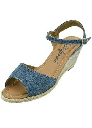 Sandália anabela aberta di stefanni mescla jeans