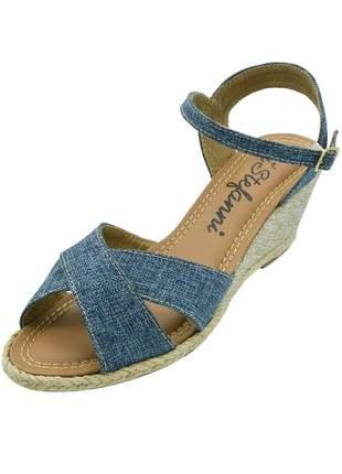 Sandália anabela c/ tiras cruzadas di stefanni mescla jeans