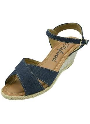 Sandália anabela c/ tiras cruzadas di stefanni jeans escuro