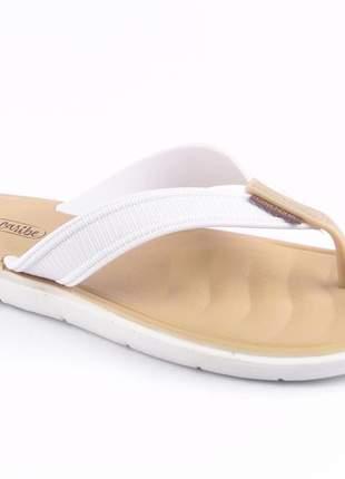 Sandália rasteirinha feminina branca rasteira chinelo confortavel moda praia