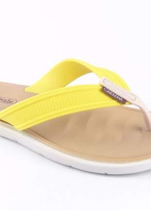 Sandália rasteirinha feminina amarela rasteira chinelo confortavel moda praia