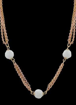Kit colar folheado ouro corrente white +  par de brincos