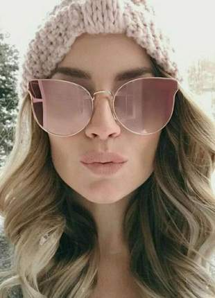 Óculos gatinho feminino espelhado rosa verão 2019