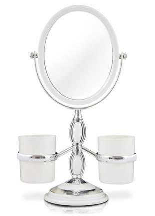 Espelho de bancada branco com suporte para pincel de maquiagem