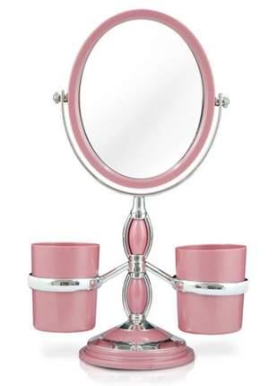 Espelho de bancada rosa com suporte para pincel de maquiagem