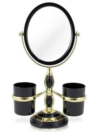 Espelho de bancada preto com suporte para pincel de maquiagem
