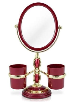 Espelho de bancada vermelho com suporte para pincel de maquiagem