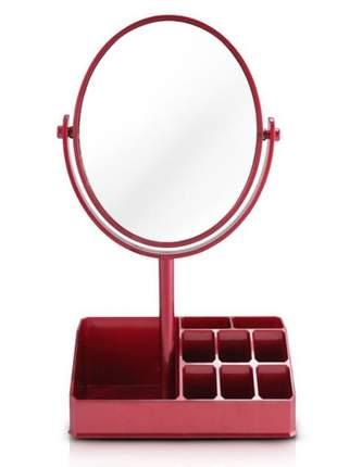 Espelho de mesa com compartimento para batom vermelho
