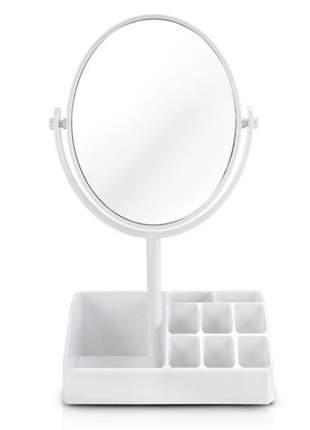 Espelho de mesa com compartimento para batom branco