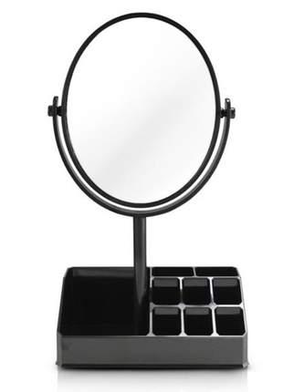 Espelho de mesa com compartimento para batom preto