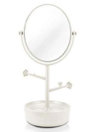 Espelho de mesa com compartimento para jóias/bijuterias branco