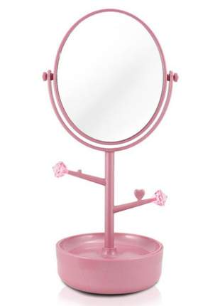 Espelho de mesa com compartimento para jóias/bijuterias rosa