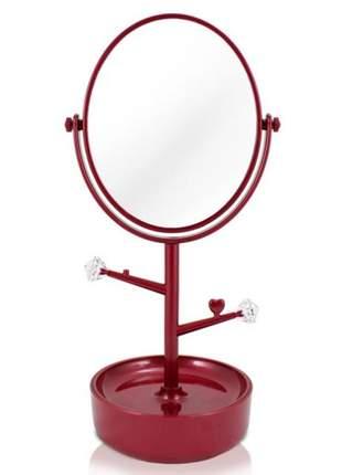 Espelho de mesa com compartimento para jóias/bijuterias vermelho